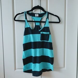mint + charcoal striped tank //